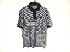 プラダ 半袖ポロシャツ サイズS メンズ ネイビー×白 ボーダー