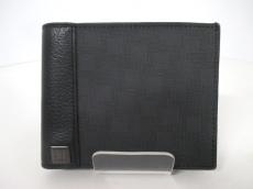 ダンヒル 2つ折り財布 ダークグレー×黒 PVC(塩化ビニール)×レザー
