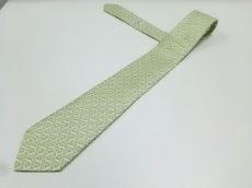 HERMES(エルメス) ネクタイ メンズ美品  ライトグリーン×白