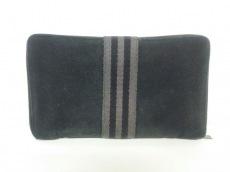 エルメス 長財布 フールトゥパースGM 黒×グレー ラウンドファスナー