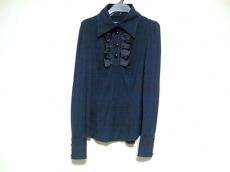 バーバリー 長袖ポロシャツ サイズ38 M レディース 黒 フリル