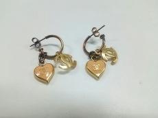 シャネル ピアス 金属素材 ゴールド×ピンク ハート/ココマーク
