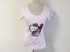 レディ 半袖Tシャツ サイズF レディース美品  ピンク×白×マルチ