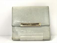 GUCCI(グッチ) Wホック財布 - 112664 ライトブルー リザード
