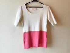 レディ 半袖セーター サイズF レディース 白×ピンク×ゴールド