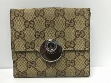 GUCCI(グッチ) Wホック財布 GG柄 120932 ベージュ×ダークブラウン