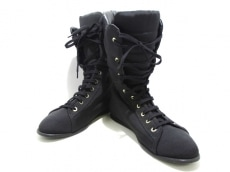 CHANEL(シャネル) ブーツ 38 1/2 レディース 黒 ナイロン
