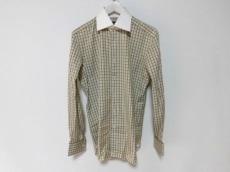 トムフォード 長袖シャツ メンズ 白×グレー×ブラウン チェック柄