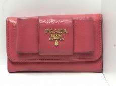 PRADA(プラダ) キーケース - 1M0222 ピンク リボン/6連フック レザー