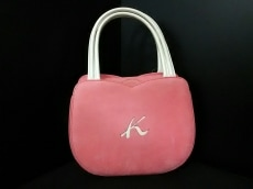 KITAMURA(キタムラ) ハンドバッグ ピンク×白 ヌバック×レザー