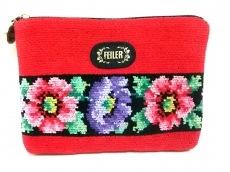 FEILER(フェイラー) ポーチ美品  レッド×黒×マルチ 花柄 パイル