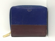 CELINE(セリーヌ) 2つ折り財布 - ネイビー×ダークブラウン レザー