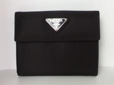 PRADA(プラダ) Wホック財布 - 黒 ナイロン
