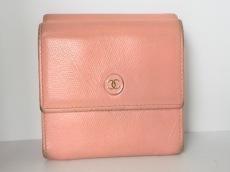 CHANEL(シャネル) Wホック財布 ココボタン ピンク レザー