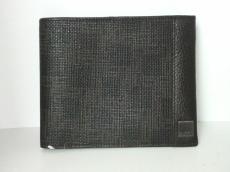 ダンヒル 2つ折り財布 黒×ブラウン PVC(塩化ビニール)×レザー