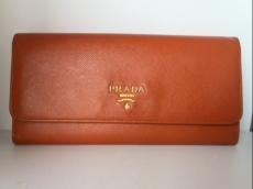 PRADA(プラダ) 長財布 - オレンジ レザー