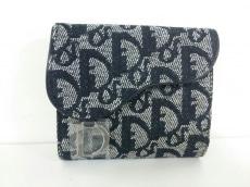 クリスチャンディオール Wホック財布 ロゴグラム 白×黒 ジャガード