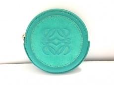 ロエベ コインケース - グリーン 型押し加工 スエード×レザー