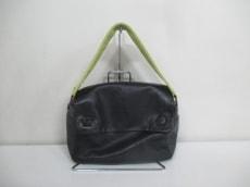 プラダ ハンドバッグ - BN0252 黒×グレー×ライトグリーン レザー