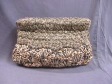 ナノユニバース セカンドバッグ ゴールド×ダークグリーン 化学繊維