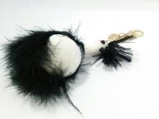 ミュベール キーホルダー(チャーム)美品  白×黒 化学繊維×ファー
