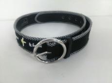 ルルギネス ベルト美品  黒×白×シルバー コットン×金属素材