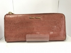 miumiu(ミュウミュウ) 長財布 - ピンク 型押し加工/L字ファスナー
