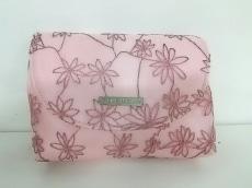 ジバンシー ポーチ ピンク フラワー/刺繍/ミラー付き 化学繊維