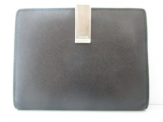 PRADA(プラダ) 2つ折り財布美品  - 黒×シルバー レザー×金属素材