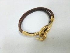 エルメス ブレスレット ジャンボ レザー×金属素材 2連/ゴールド金具