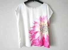 レディ 半袖カットソー サイズF レディース 白×ピンク×マルチ 花柄