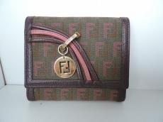 フェンディ 3つ折り財布 ズッキーノ柄 8M0177 ジャガード×レザー