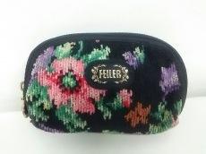 FEILER(フェイラー) ポーチ 黒×ピンク×マルチ 花柄 パイル