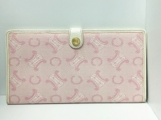 CELINE(セリーヌ) 財布 マカダム柄 ピンク×白 マルチケース