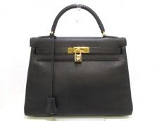 エルメス ハンドバッグ美品  ケリー32 黒 内縫い/ゴールド金具