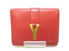 サンローランパリ 3つ折り財布美品  クラシック Y 328599 レッド