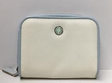 ボッテガヴェネタ 2つ折り財布 - 白×ライトグレー 型押し加工
