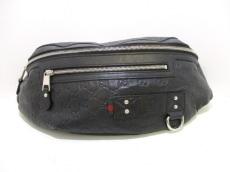 GUCCI(グッチ) ウエストポーチ シマライン 246409 黒 ボディバッグ