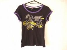 ディーゼル 半袖Tシャツ サイズS レディース 黒×パープル×マルチ