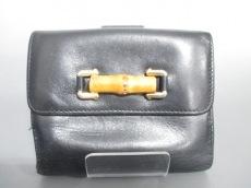 GUCCI(グッチ) Wホック財布 バンブー - 黒 レザー
