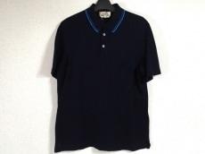 エルメス 半袖ポロシャツ サイズM メンズ ダークネイビー×ブルー