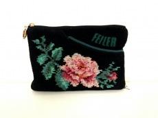 FEILER(フェイラー) ポーチ 黒×マルチ 花柄 パイル