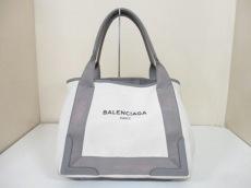 バレンシアガ トートバッグ ネイビーカバS 339933 白×グレー