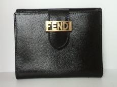 FENDI(フェンディ) Wホック財布 - 8M0035 黒 型押し加工 レザー