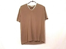 エルメス 半袖セーター サイズM メンズ ベージュ×白 Vネック