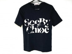 SEE BY CHLOE(シーバイクロエ) 半袖Tシャツ レディース ネイビー×白