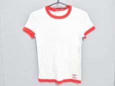 シャネル 半袖セーター サイズ38 M レディース美品  白×オレンジ
