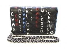 CHANEL(シャネル) 財布美品  マトラッセ 黒×マルチ ラムスキン