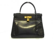 HERMES(エルメス) ハンドバッグ ケリー28 黒 内縫い/ゴールド金具