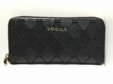 TOCCA(トッカ) 長財布 黒 リボン/ラウンドファスナー レザー